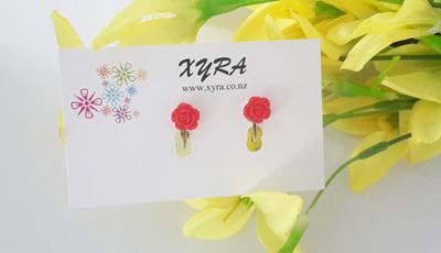 Mini Red Rose Clip-on Earrings
