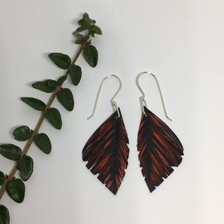 Mini Silvereye Earrings with Red