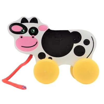 Mini Wooden Pull Along Toy - Cow