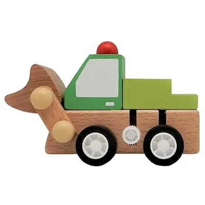 Mini Wooden Wind-Up Bulldozer