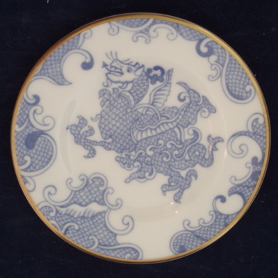 Miniature blue and white dragon plate