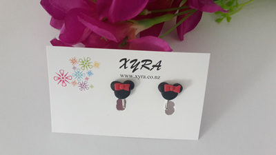 Minnie Inspired Polymer Clay Clip-on Earrings