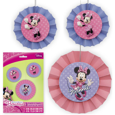 Minnie Mouse - Paper Fans - Pack of 3
