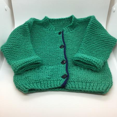 Mint Green Knitted Merino Wool Cardigan - 0-3 months