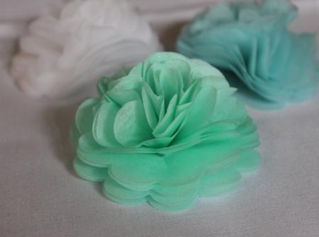 Mint green tissue flowers