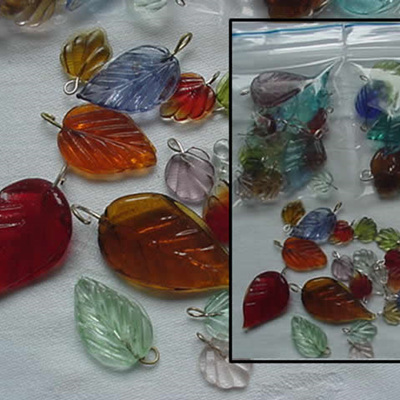 Mixed Colour Glass Leaves