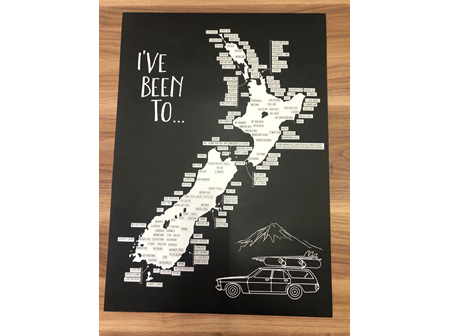 Moana Rd A2 NZ Road Trip Scratch Map Unframed