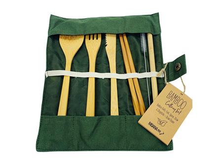 Moana Rd Bamboo Cutlery set Olive