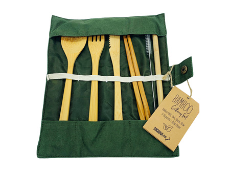 Moana Rd Bamboo Cutlery set Olive