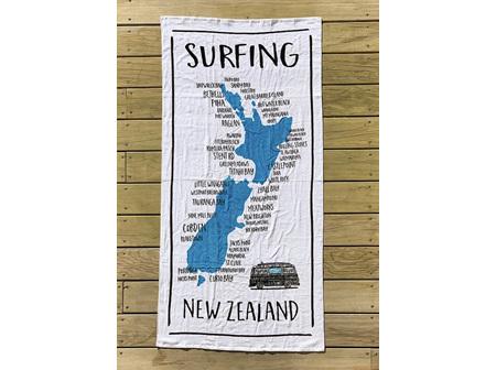Moana Rd Beach Towel NZ Map Surfing