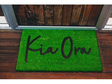 Moana Rd Doormat Kia Ora Grass Green