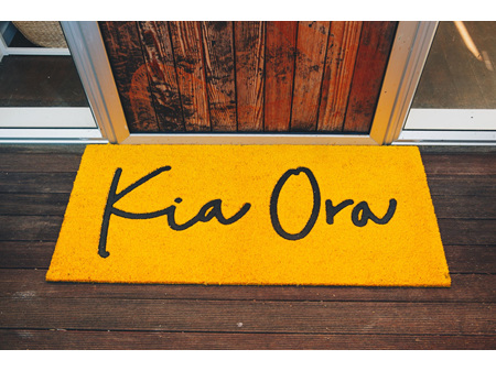 Moana Rd Doormat Kia Ora  Yellow