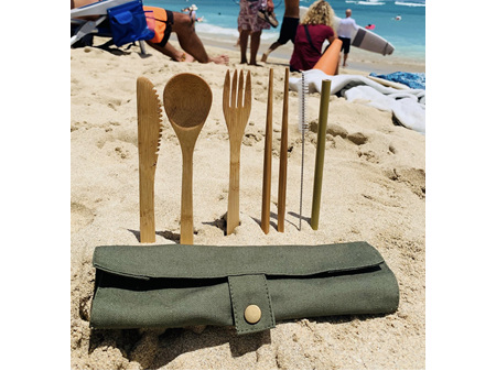 Moana Rd Eco Bamboo Cutlery Set - Olive