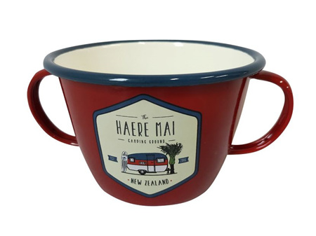 Moana Rd Enamel 2 Handled Mug Haere Mai
