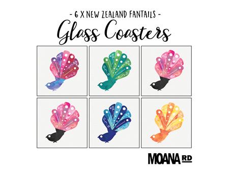 Moana Rd Glass Coasters Fantails