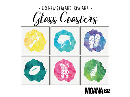 Moana Rd Glass Coasters Kiwiana
