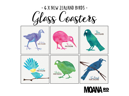 Moana Rd Glass Coasters NZ Birds