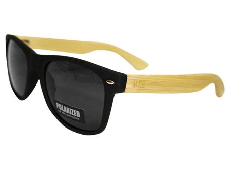 Moana Rd Sunglasses 50/50  Black Frames Black Lens Wooden Arms