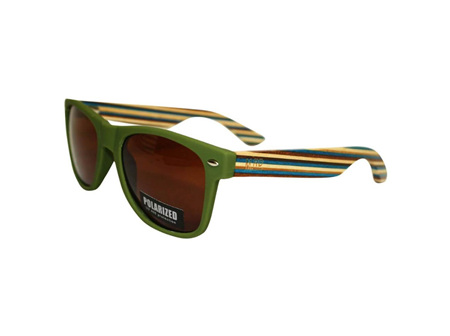 Moana Rd Sunglasses Green with Striped Arms