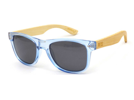 Moana Rd Sunglasses Ice Blue with Wood Arms