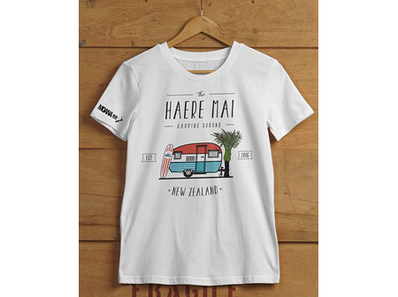 Moana Rd T Shirt Haere Mai White XS