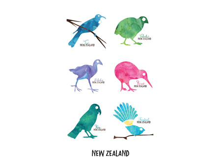 Moana Rd Tea Towel NZ Birds