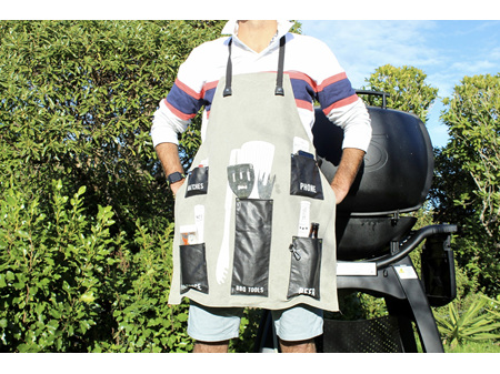 Moana Road BBQ Apron Black & Grey