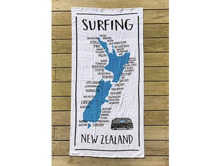 Moana Road Beach Towel NZ Map Surfing
