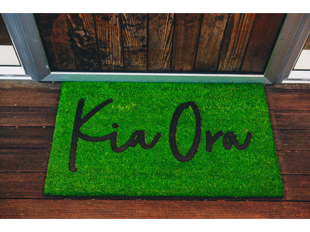 Moana Road Doormat Kia Ora Grass Green