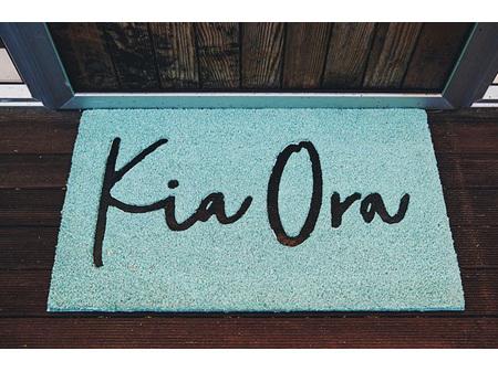 Moana Road Doormat Kia Ora Teal