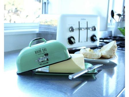 Moana Road Enamel Butter Dish Haere Mai  Green
