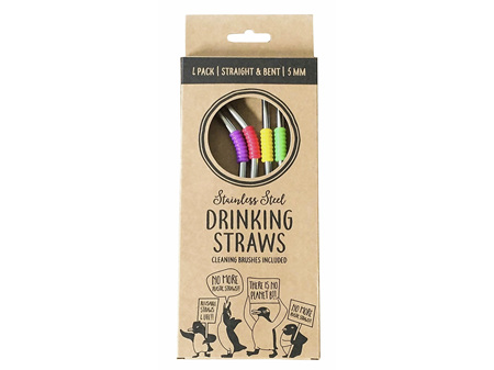 Moana Road Straws Metal Reusable 4 straws with 2 Cleaners