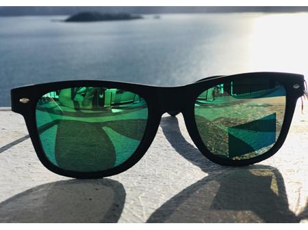 Moana Road Sunglasses + Free Case ! , Dark with Green Reflective Lens