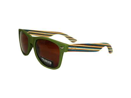 Moana Road Sunglasses + Free Case ! , Green with Striped Arms