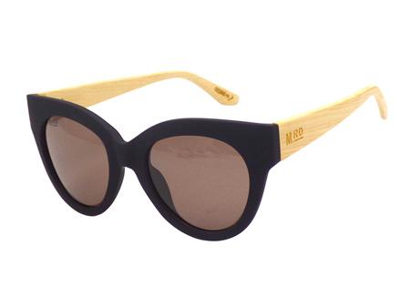 Moana Road Sunglasses + Free Case ! , Ingrid Bergman Black with Wood Arms