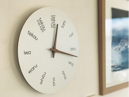 Moana Road Wooden Clock Te Reo