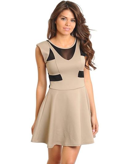 mocha black A-line dress
