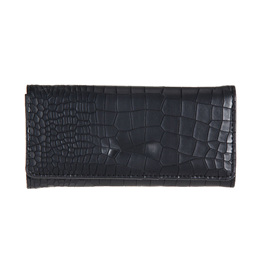 Mock Croc Long Wallet - BLACK