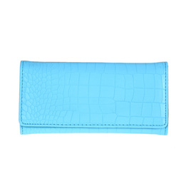 Mock Croc Long Wallet - BLUE