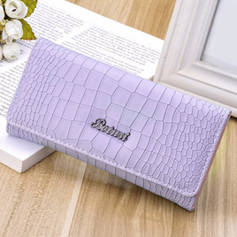 Mock Croc Long Wallet - Purple