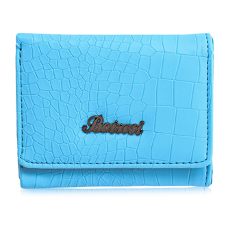 Mock Croc Short Wallet - Blue