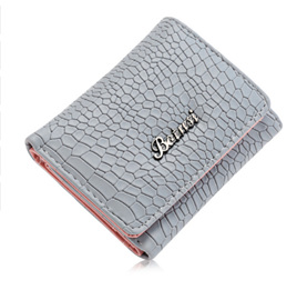 Mock Croc Short Wallet - Grey