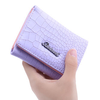 Mock Croc Short Wallet - Purple