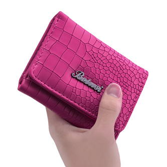 Mock Croc Short Wallet - Rose
