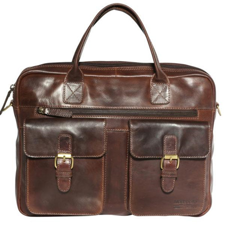 Modapelle Large Leather Satchel with Two Front Pockets
