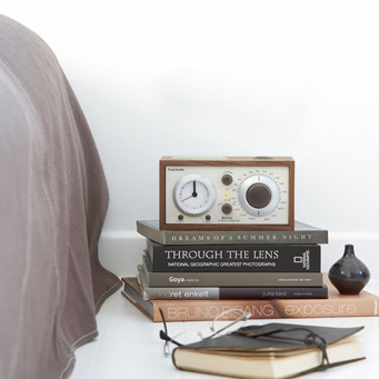 MODEL THREE BT CLOCK RADIO WITH BLUETOOTH WALNUT/BEIGE