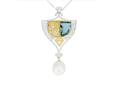 Modern Art Nouveau Style Jewellery - Darren's Mystery Box Aquamarine Pendant