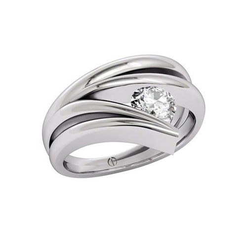 Modern Brilliant Cut Diamond Ring