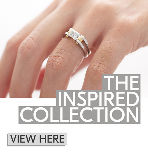modern diamond ring, contemporary engagement ring, two tone, radiant diamond