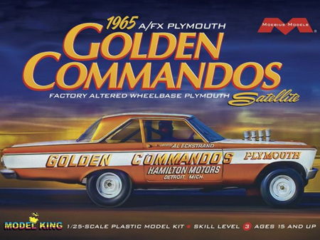 Moebius/Model King 1/25 65 AF/X Plymouth Golden Commandos Altered Wheelbase Drag Race Car (MDK1237)